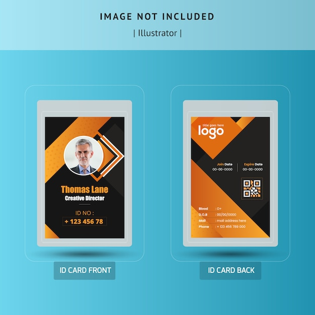 Abstract Dark Id Card Template Vector Design