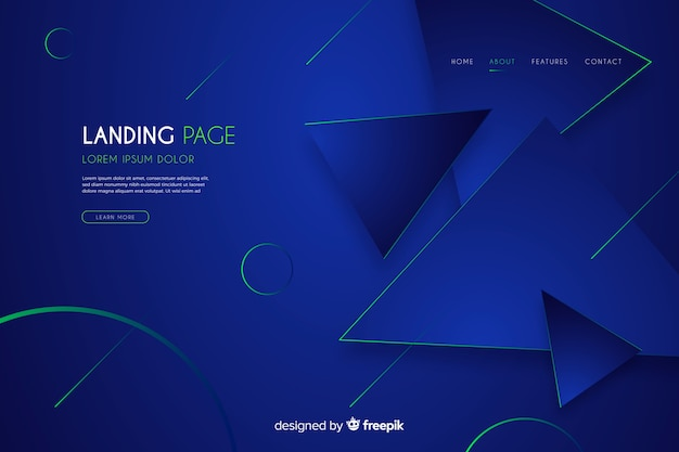 Abstract dark landing page Free Vector