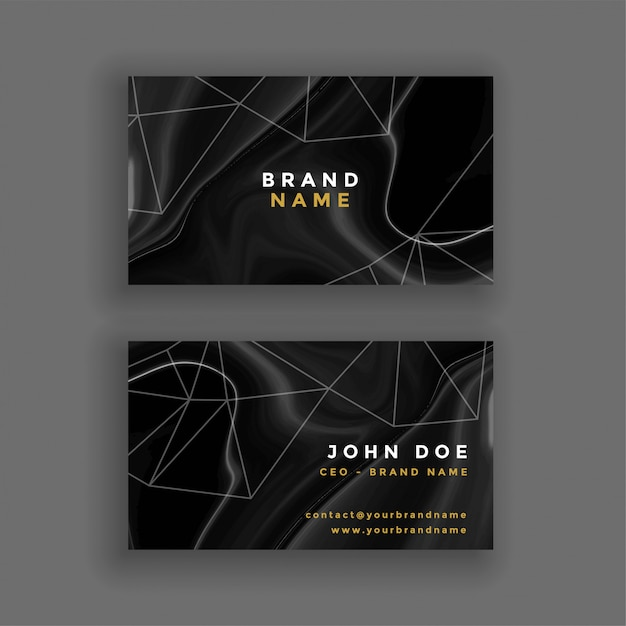 Abstract dark marble texture business card Free Vector