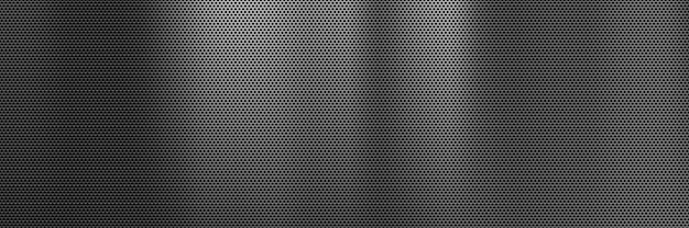 Abstract dark metal banner background with steel grill texture Premium Vector
