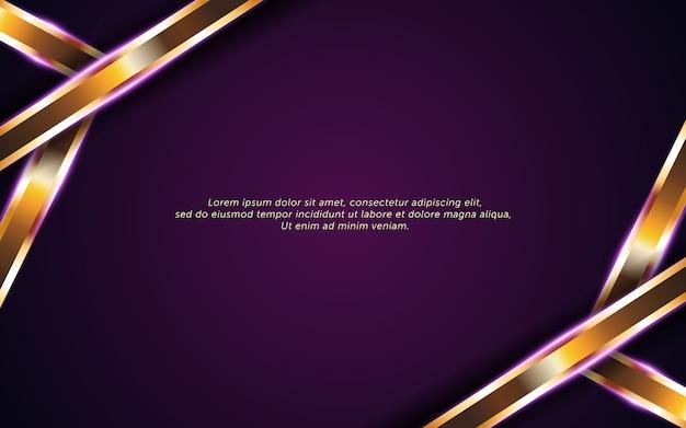 ゴールデンラインと抽象的な暗い紫色の背景 Premiumベクター