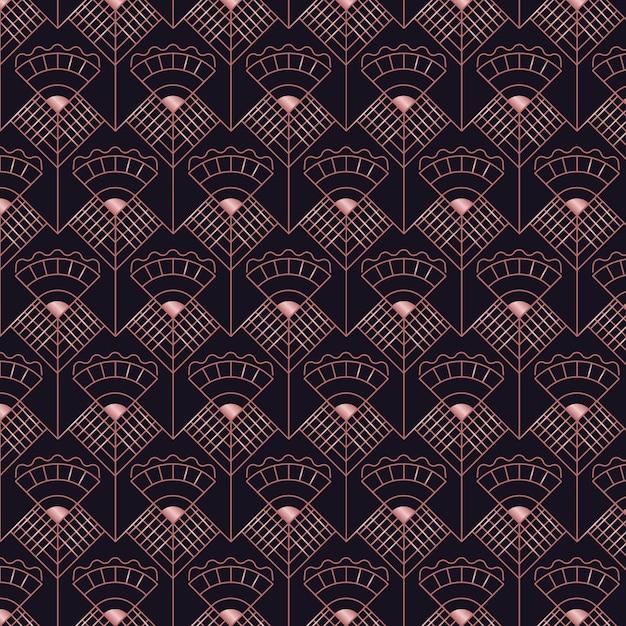 抽象的なダークローズゴールドアールデコシームレスパターン 無料ベクター