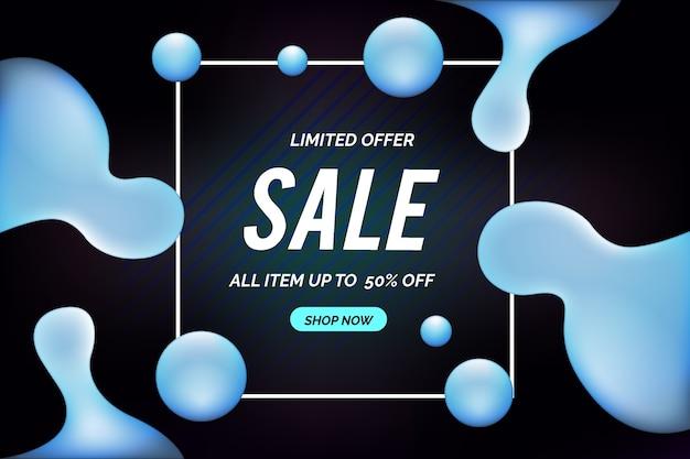 Abstract dark sales background with liquid effect Free Vector