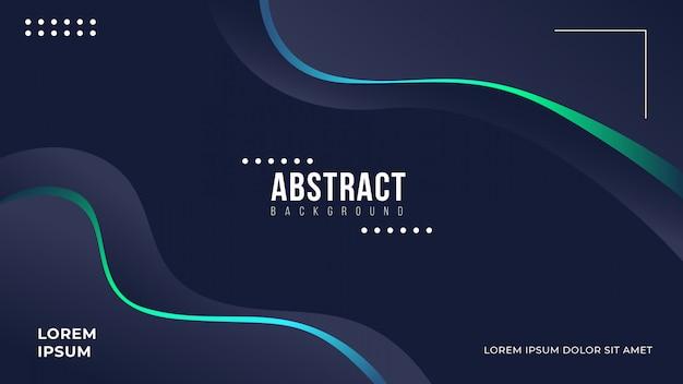 Abstract dark wavy background with gradient line Premium Vector