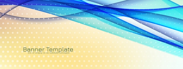 Abstract decorative blue wave banner design Free Vector