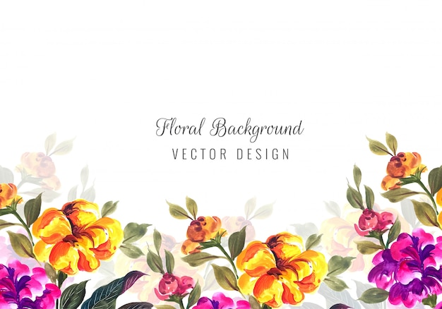 Abstract decorative colorful flowers card template Free Vector