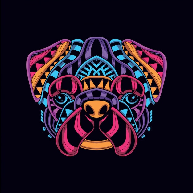 Abstract decorative dog in glow neon color Premium Vector