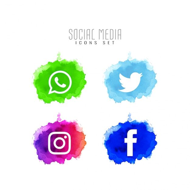Abstract decorative social media icons design set Free Vector