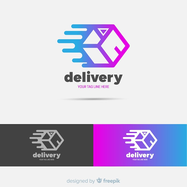 Abstract delivery logo template Free Vector