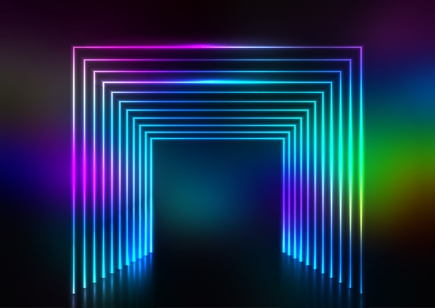 Abstract design background with neon tunnel effect Free Vector