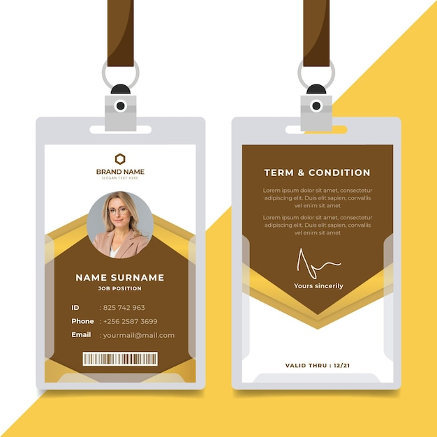 Abstract design brown id cards template Free Vector