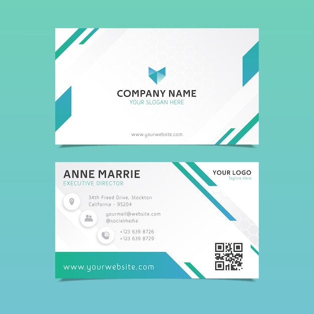 Abstract design business card template Premium Vector