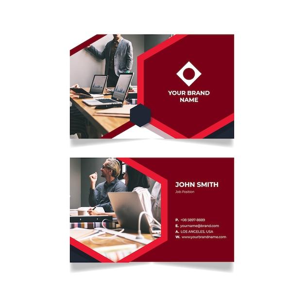 Абстрактный дизайн визитки с фото Бесплатные векторы