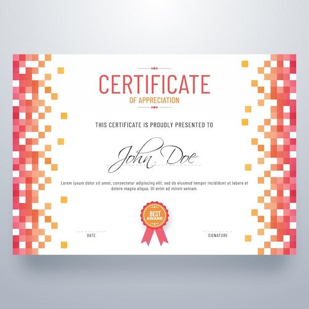抽象的なデザインの証明書、鑑賞の卒業証書。 Premiumベクター
