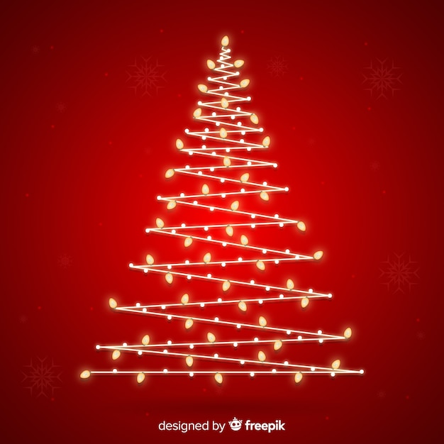 Christmas Tree Light Pictures: Abstract Design Christmas Tree With Lights Vector