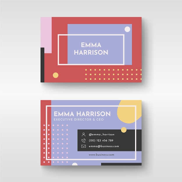 Abstract design colorful business card for ceo Free Vector