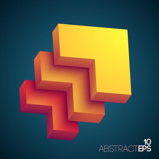 黄色からオレンジ色に着色されたグラデーションの長方形の層を持つ抽象的なデザインコンセプト 無料ベクター