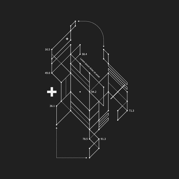 Abstract design element in draft style on black background. Premium Vector