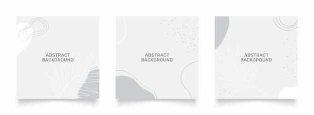 소셜 미디어 피드 게시물에 대한 추상 디자인. 녹색 흰색 낙서 낙서 모양 손으로 그린 개체. 프리미엄 벡터