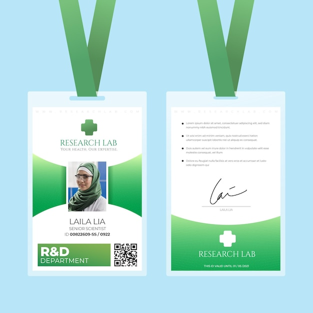 Abstract design green id cards template Free Vector