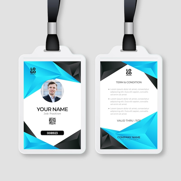 Abstract design id cards template with photo Free Vector