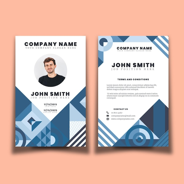 Abstract design id cards template Free Vector
