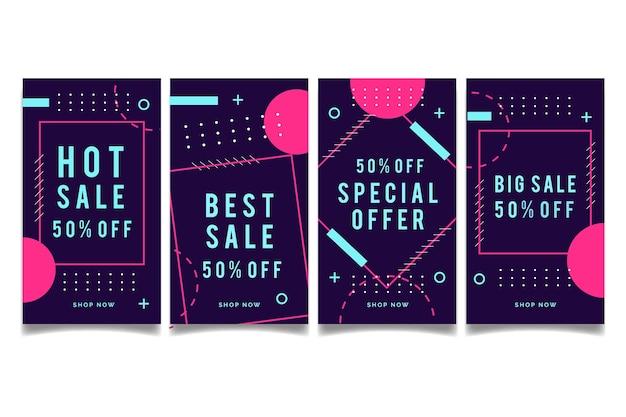 Abstract design instagram sale stories Free Vector