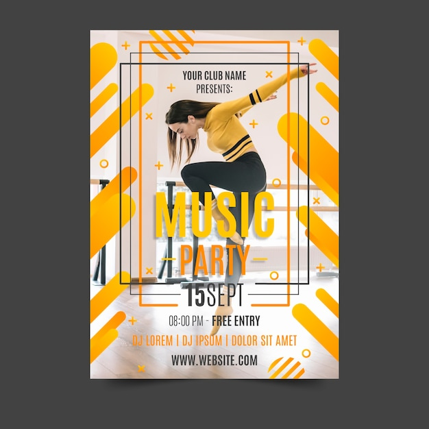 Abstract design music poster with photo Free Vector