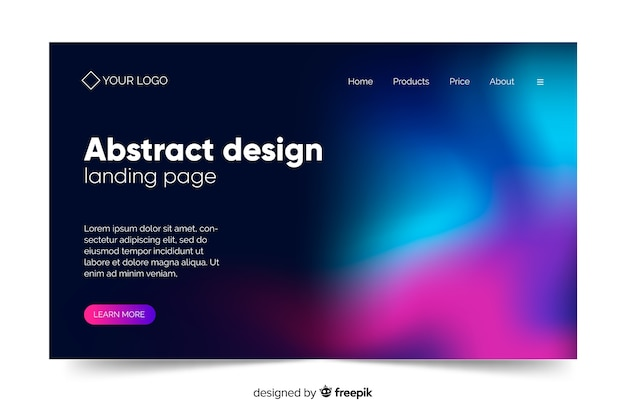 Abstract design of northern lights landing page Free Vector