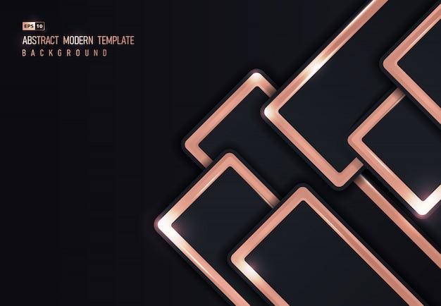 ピンクゴールドの光沢のあるメタリックオーバーラップデザインの背景の抽象的なデザイン。 Premiumベクター