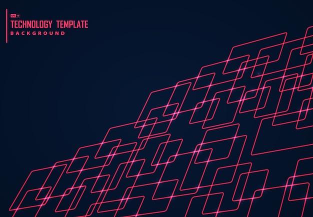 赤の広場の技術デザインの背景の抽象的なデザイン。 Premiumベクター
