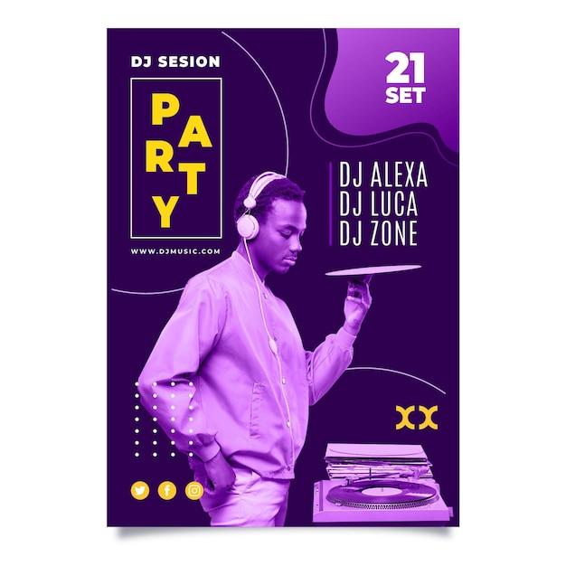 Абстрактный дизайн вечеринка плакат с фотографией Бесплатные векторы