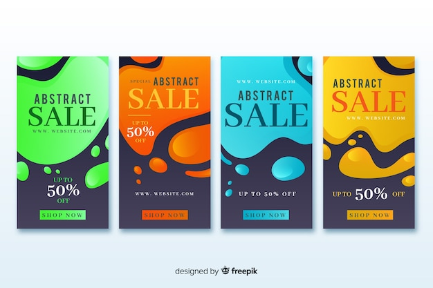 Abstract design sale instagram story collection Free Vector