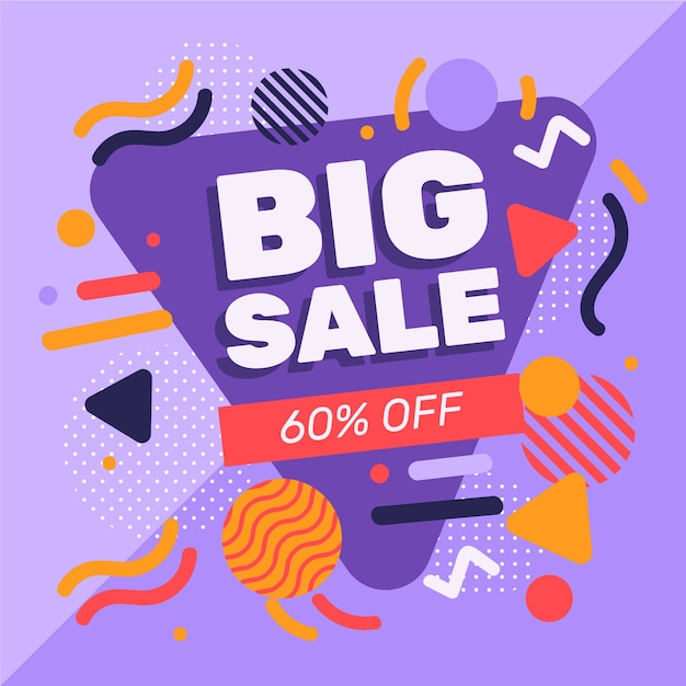 Abstract design sales promotion with 60% off Free Vector
