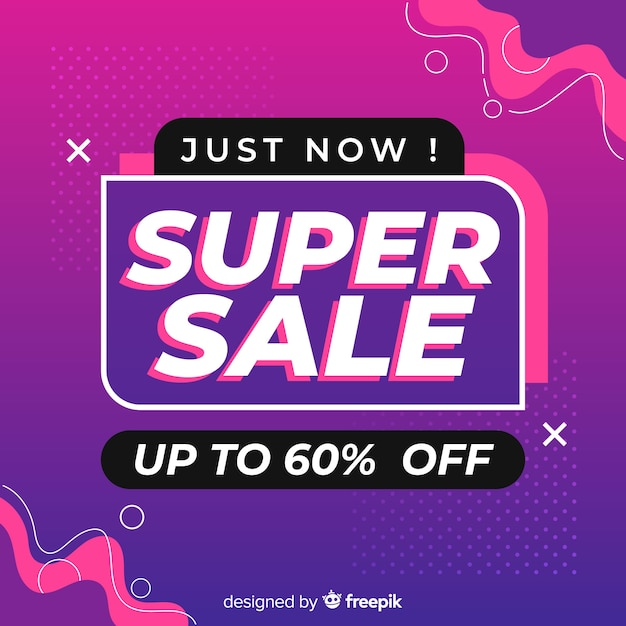 Abstract design sales with 60% off Free Vector