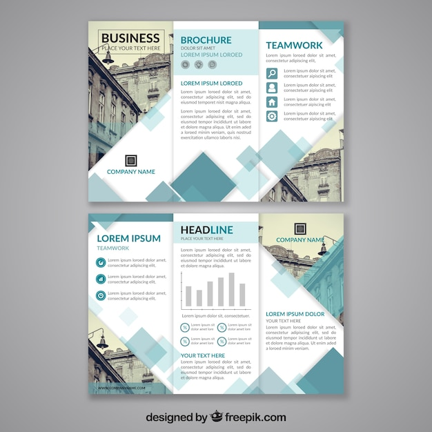 abstract design trifold brochure template vector free download