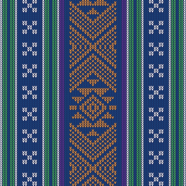 Abstract design vintage knitted pattern Premium Vector