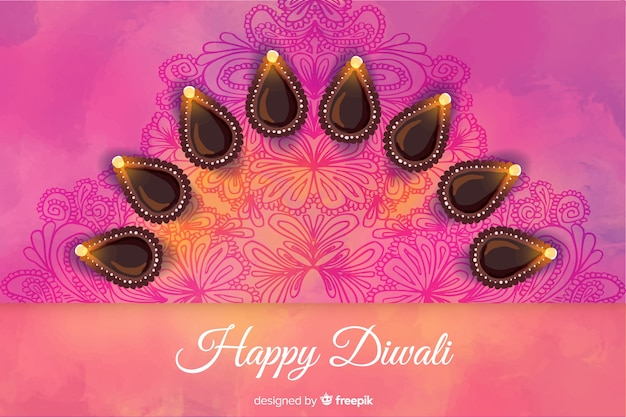 Abstract design watercolour diwali background Free Vector