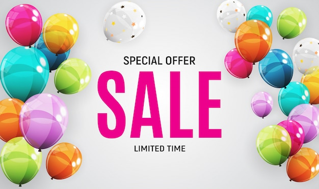 Abstract designs sale banner template with balloons Premium Vector