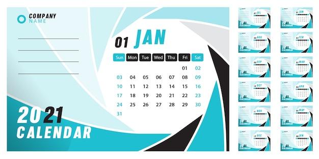 Абстрактный настольный календарь 2021 Бесплатные векторы