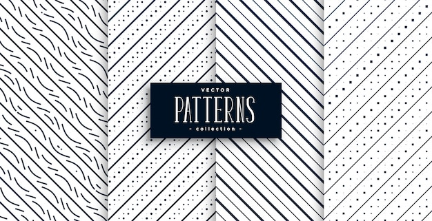 Abstract diagonal lines classic patterns set of four Free Vector