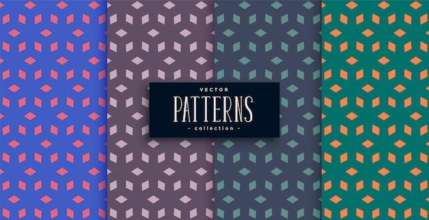 Abstract diamond shape geometric pattern desgn set Free Vector