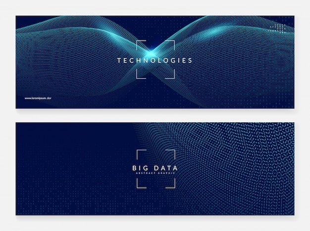 Abstract digital banner background. artificial Premium Vector