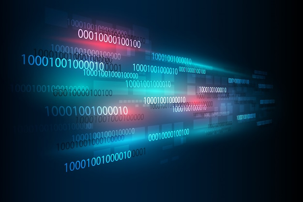Abstract digital binary matrix number technology futuristic background Premium Vector