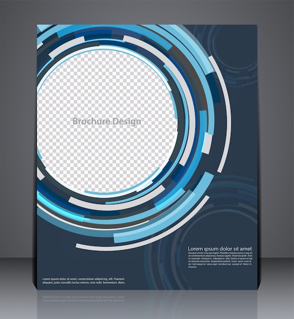 Abstract digital business brochure flyer design in a4 size, layout cover design in blue colors Premium Vector