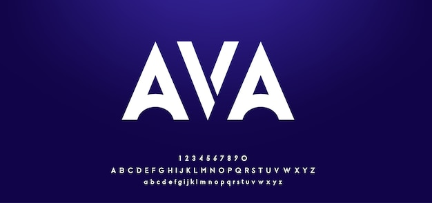 Gethinh - font chữ cái hiện đại tương lai kỹ thuật số Vector EPS