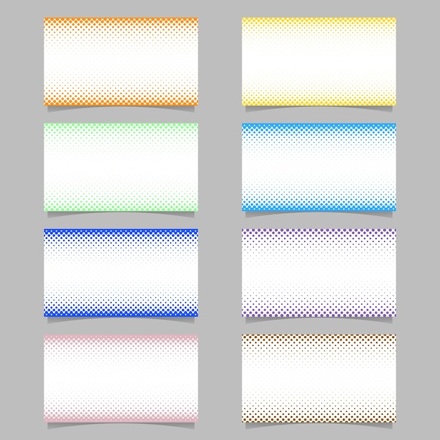 Abstract digital halftone dot pattern business card background template design set - vector corporation illustrations with colored circles