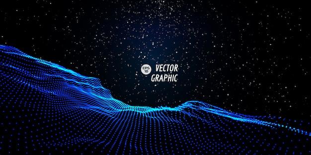 Абстрактный цифровой пейзаж с течет частицы и звезды на горизонте. кибер или технологии фон. Premium векторы
