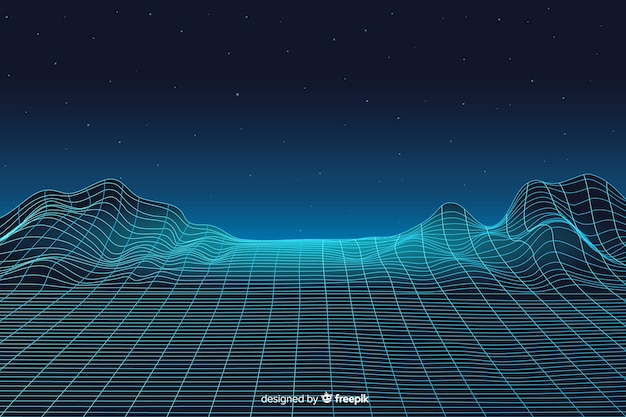 Abstract digital landscape with particles background Free Vector