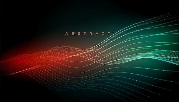 Linee digitali astratte incandescente disegno di sfondo ondulato Vettore gratuito